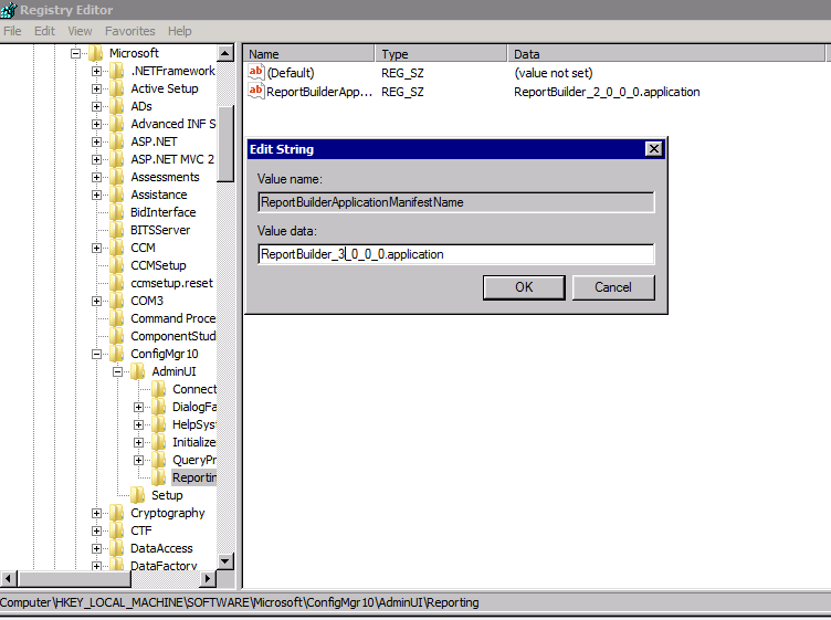 "SCCM ""Report Builder click-once application error"" when trying to"